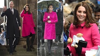 Pregnant Kate looks glowing in £1500 bright pink Mulberry coat as she arrived in Coventry