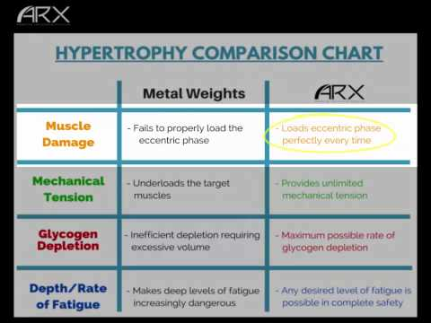 ARX Academy | Hypertrophy Comparison Chart (Weights vs. ARX)