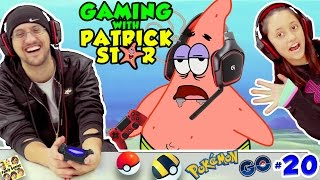 GAMING w/ PATRICK STAR!  FUNNIEST FGTEEV VIDEO! Pokemon Go Jokes #20 Gen1 Pokedex Spongebob Style