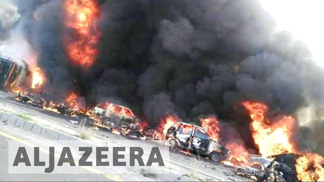 Pakistan fuel tanker crash burns scores to death