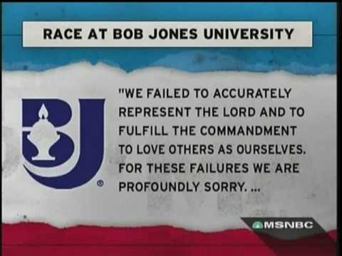 Bob Jones University says they are sorry for being racist.. Their bad.