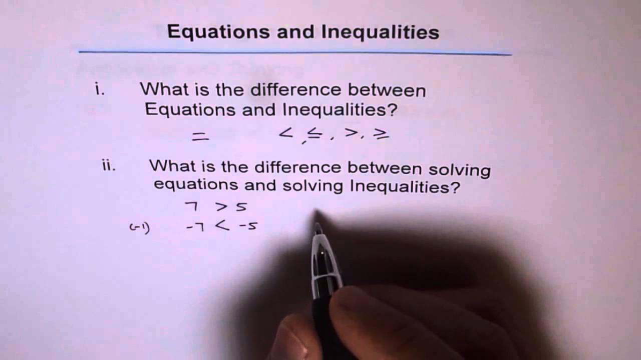 difference between equation and inequalities   youtube
