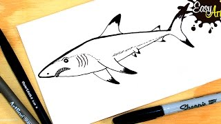 Como dibujar un tiburon paso a paso /How to draw a shark  Step by Step