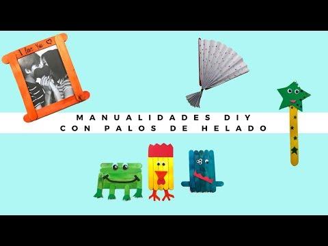 Varias Manualidades con palos de helados: Marco para fotos, marcapáginas, abanico y diversos muñecos