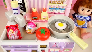 Baby doll kitchen and Kinder Joy Surprise eggs toys play