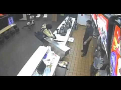 un Braqueur arrêté par un client du Mcdo video surveillance