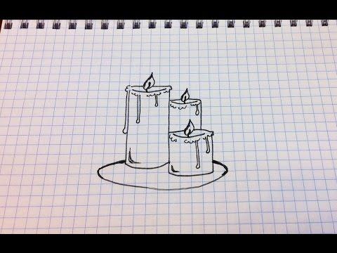 Видео как нарисовать свечку