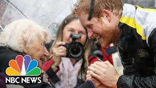 Prince Harry Recognizes, Hugs 97-Year-Old Fan Who Waited In The Rain | NBC News