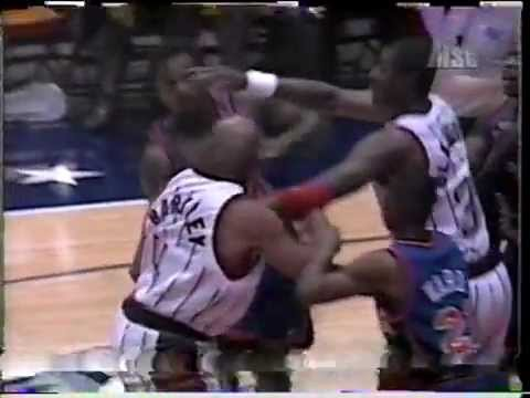 1996 Charles Barkley vs Charles Oakley fight in preseason game thumbnail