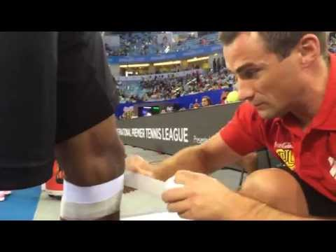 Patella-Taping of Gael Monfils at International Premier Tennis League in Dubai
