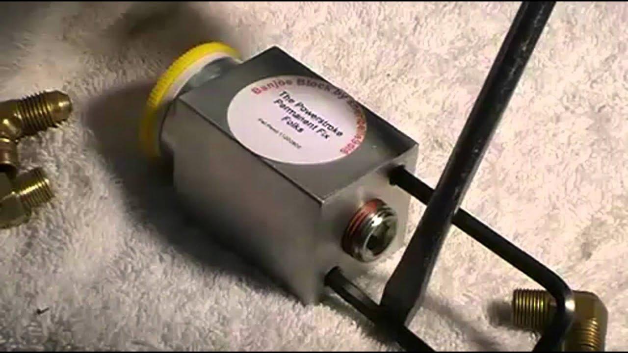 1997 powerstroke banjoe block install fuel pump upgrade