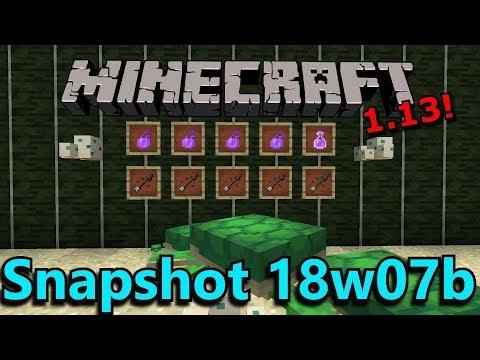 Minecraft 1.13 Snapshot 18w07b- Waterlogged Tag, New Arrows, Turtle Breeding, Breathing Mechanics!