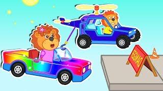 Lion Family 🏎️ Rainbow Car Flies Cartoon for Kids