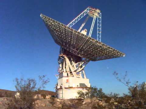 Giant, 70-meter Goldstone radio antenna rotates to
