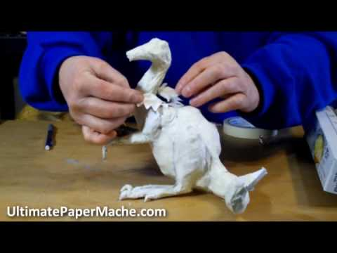 Paper mache dragon making the armature youtube for How to make a sculpture out of paper mache