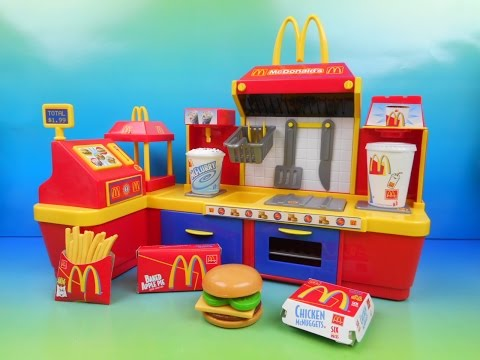 McDONALD'S ELECTRONIC FAST FOOD CENTER 18 PIECE KID'S PLAY SET VIDEO TOY REVIEW