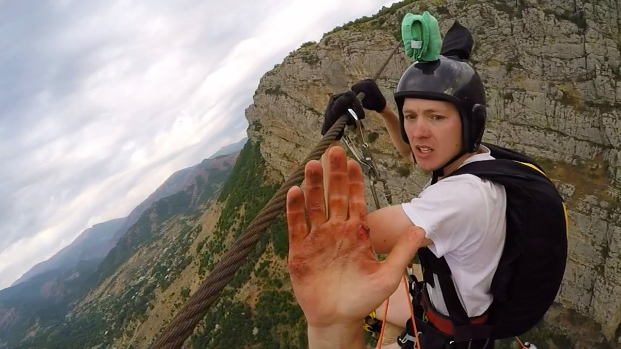 Crazy Base Jumper Nearly Loses A Finger On A Zip Line