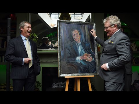 video: Nigel Farage just unveiled a portrait of himself with Jim Davidson. Remainers, look away now