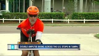 Double amputee biking across United States makes stop in Tampa
