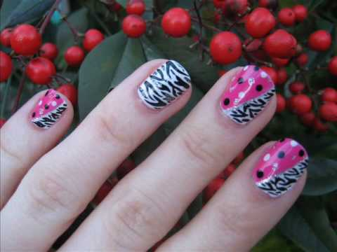 Pink Zebra Dot Nail Tutorial- Contest Entry for tiahope94's Contest