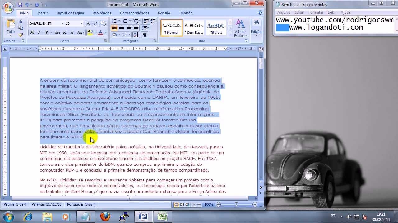word 2007 - mudar fonte e cor da fonte