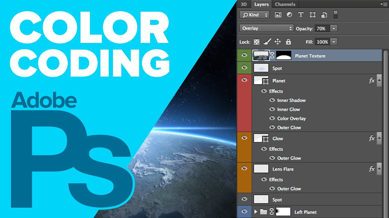 color code your photoshop layers iceflowstudios youtube