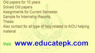 AIOU Old papers, Assignments, Helping Material  Allama Iqbal Open University Islamabad