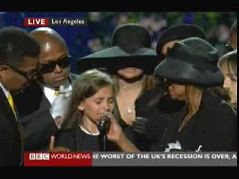 Michael Jackson Memorial - Daughter Paris Says Goodbye