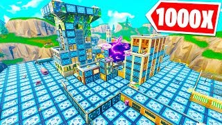 1000 BOUNCE PADS + CUBE DESTROYING TILTED TOWERS! | Fortnite w/ Muselk, Vikkstar123 & Rifty