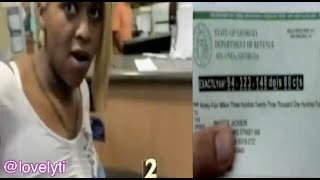 Brigitte Jackson-Blonde Negress Files $93,323,148 Tax Refund-Picks Up At Grocery Store Bank In Cobb