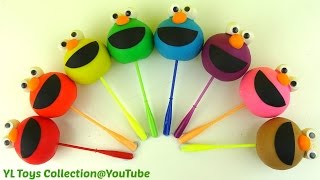 Fun Learning Shapes and Colours with Play Doh Elmo Rainbow Lollipops fun for kids