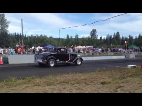 TRIUMPH MOTORCYCLE VS PLYMOUTH COUPE BILLETPROOF ERUPTION DRAGS TOUTLE, WA 2013