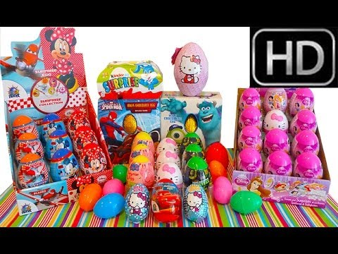 50 Surprise Eggs unboxing 30 minutes! Maxi Cars 3 kinder Spiderman Peppa Pig Spongebob Mickey Mouse