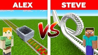 MINECRAFT - ALEX vs STEVE! ROLLERCOASTER BATTLE / Minecraft Animation #7