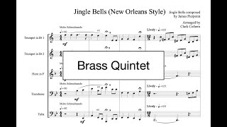 Jingle Bells New Orleans Style - for Brass Quintet - Arr. Clark Cothern (1957 -  ) [BMI]