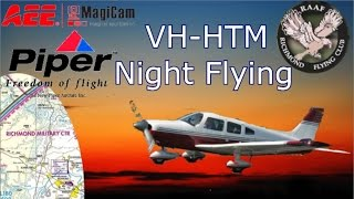 Sunset and Night Flight in PA28 Piper Archer VH-HTM