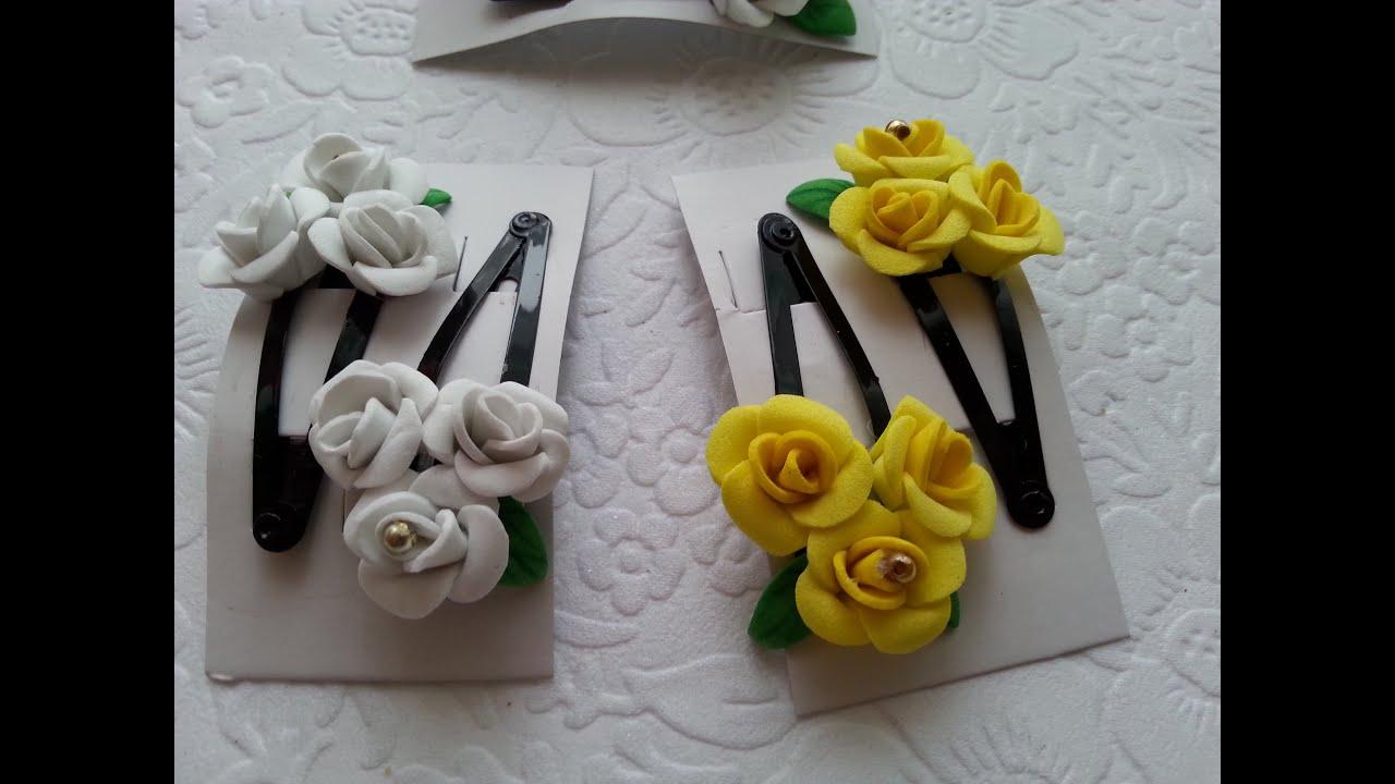 Цветы из фоамирана для заколки своими руками 52