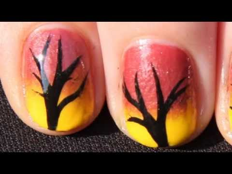 Quick and Easy Autumn Ombre Tree Nail Art Tutorial - Fall Nails