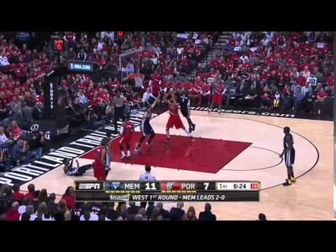 NBA, playoff 2015, Trail Blazers vs. Grizzlies, Round 1, Game 3, Move 4, Marc Gasol, block