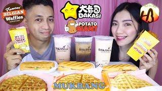 Dakasi Bubble Tea + Belgian Waffle + Potato Giant + Habibti Bun MUKBANG