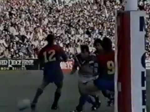 1994 Winfield Cup Round 20 Canterbury-Bankstown Bulldogs v Newcastle Knights in Newcastle. Rising star Andrew Johns cops a football lesson from the great Ter...
