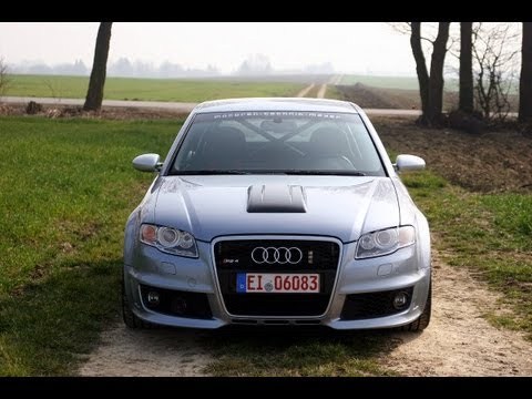 MTM Supercharged B7 Audi RS4 Clubsport!  Launch, 8250 RPM, Crazy Insane sound!