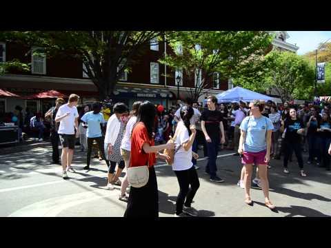 Indonesian students performing Poco Poco in International Street Festival 2014.  Athens, GA - USA