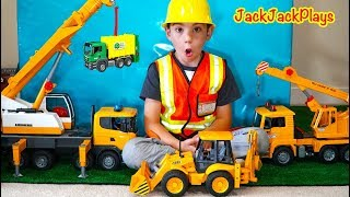 Pretend Play Construction - Cranes Demolish Box Fort + Garbage Trucks Haul | JackJackPlays