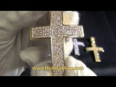 6 Row Bling Bling CZ Cross Small Size FREE CHAIN