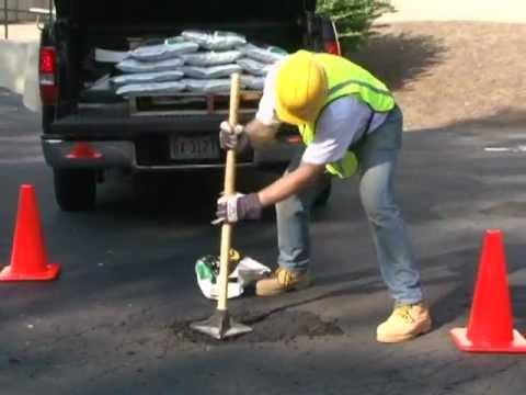 Contractors use U.S. Cold Patch to repair asphalt potholes and cracks