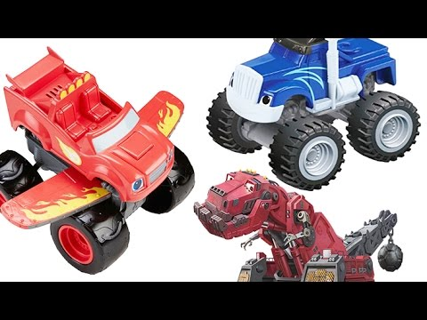 Play Doh Dinotrux and Transformers Rescue  Bots. Blaze and the Monster Machines Lots of Toys