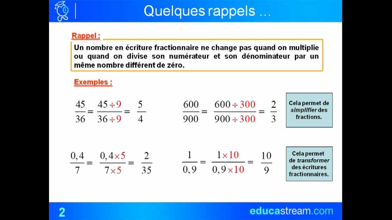 cours maths 4ème addition et soustraction de fractions ...