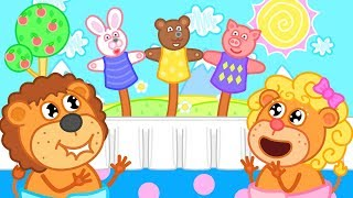 Lion Family Puppet Show Cartoon for Kids