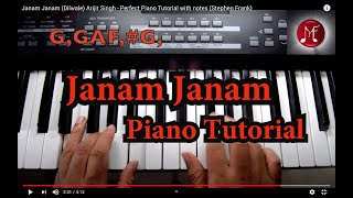 Janam Janam (Dilwale) Arijit singh - Perfect Piano Tutorial with notes (stephen frank)